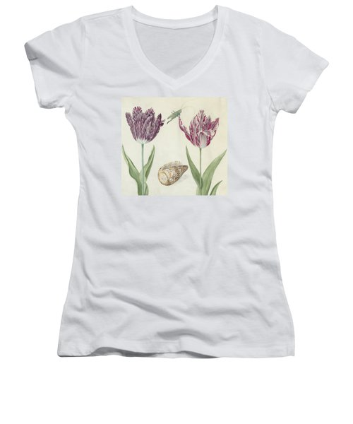 Two Tulips A Shell And A Grasshopper Women's V-Neck (Athletic Fit)