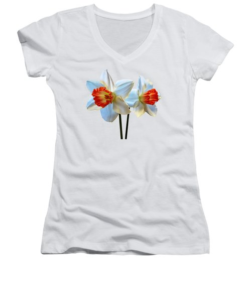 Two White And Orange Daffodils Women's V-Neck