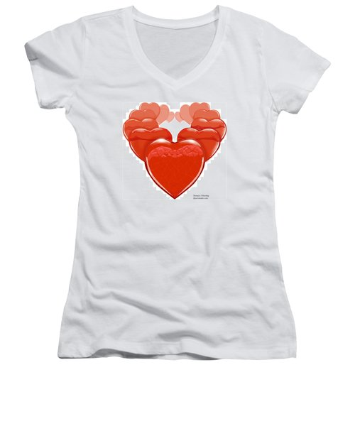 Two Hearts Become One Women's V-Neck