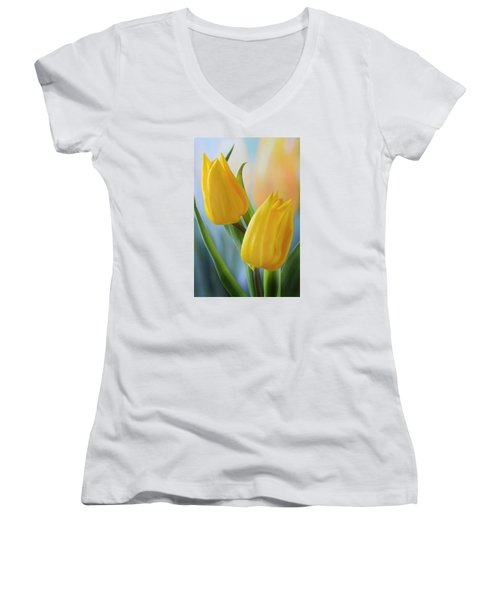 Two Yellow Spring Tulips Women's V-Neck T-Shirt