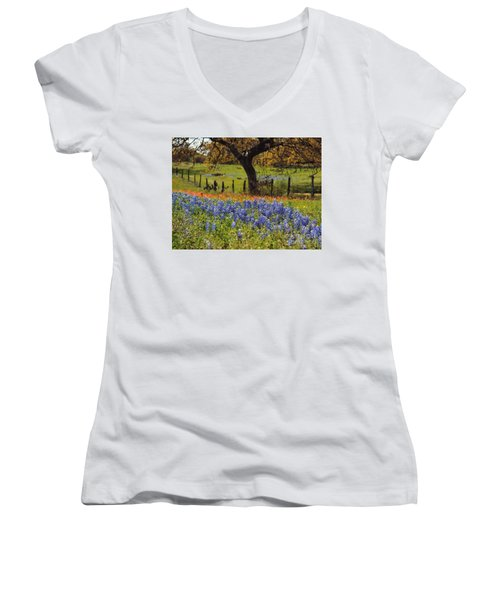 Women's V-Neck T-Shirt (Junior Cut) featuring the painting Tx Tradition, Bluebonnets by Lisa Spencer