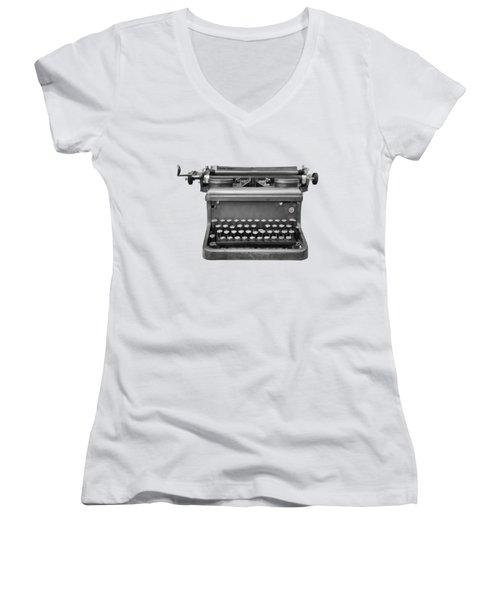 Typewriter Women's V-Neck (Athletic Fit)