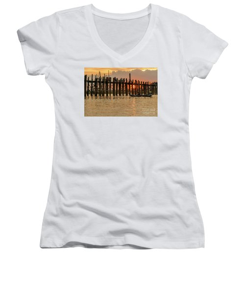 U-bein Bridge Women's V-Neck T-Shirt (Junior Cut) by Werner Padarin