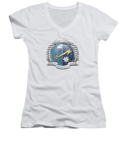 U. S.  Air Force Combat Control Teams - Combat Controller C C T Badge Over White Leather Women's V-Neck T-Shirt (Junior Cut) by Serge Averbukh