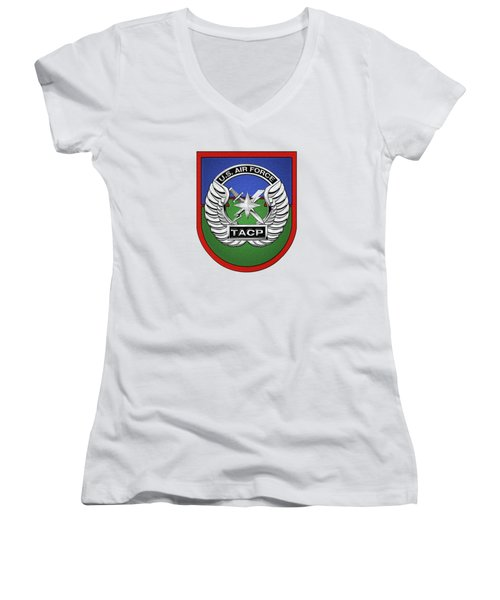 Women's V-Neck T-Shirt (Junior Cut) featuring the digital art U. S.  Air Force Tactical Air Control Party -  T A C P  Beret Flash With Crest Over White Leather by Serge Averbukh