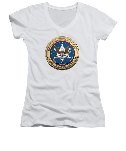 Women's V-Neck T-Shirt (Junior Cut) featuring the digital art U. S.  Marshals Service -  U S M S  Seal Over White Leather by Serge Averbukh