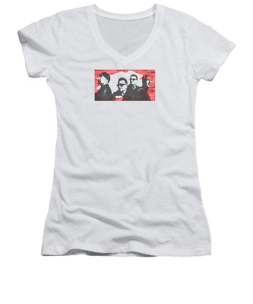U2 Graffiti Tribute Women's V-Neck T-Shirt (Junior Cut)