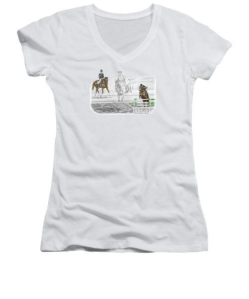 Ultimate Challenge - Horse Eventing Print Color Tinted Women's V-Neck (Athletic Fit)