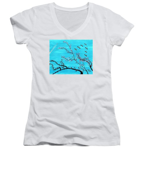 Under A Tree Women's V-Neck (Athletic Fit)
