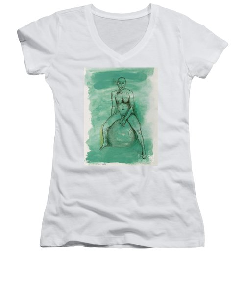 Women's V-Neck T-Shirt (Junior Cut) featuring the drawing Under Pressure by Paul McKey