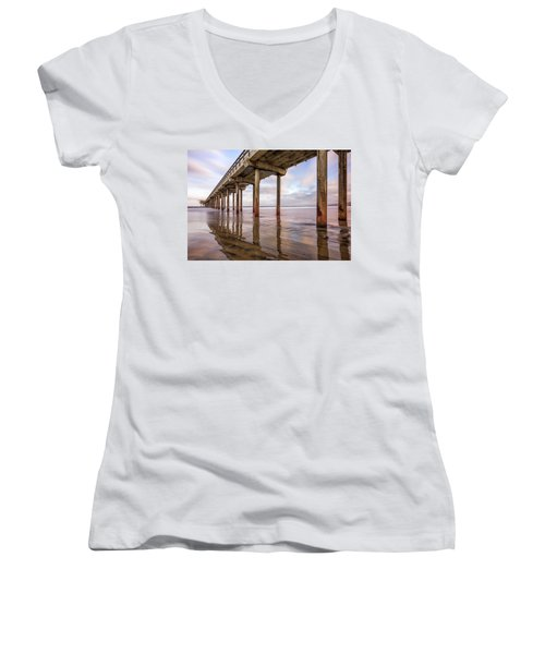 Under Scripps Women's V-Neck T-Shirt (Junior Cut) by Joseph S Giacalone