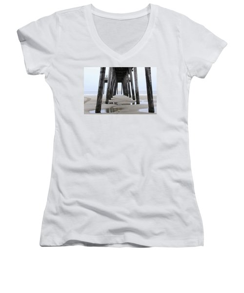 Under The Pier Women's V-Neck T-Shirt (Junior Cut) by Sharon Batdorf