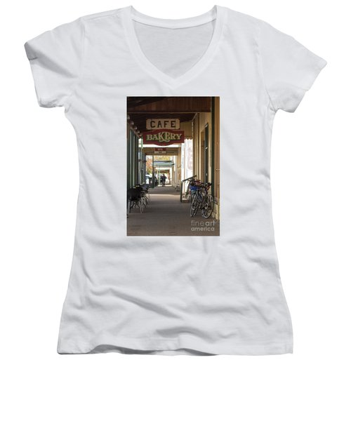 Women's V-Neck T-Shirt featuring the photograph Undoing All The Good Work by Linda Lees