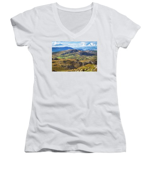 Women's V-Neck T-Shirt (Junior Cut) featuring the photograph Undulating Landscape In Kerry In Ireland by Semmick Photo