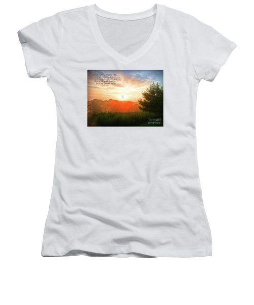 Women's V-Neck T-Shirt featuring the photograph Unfailing Love by Kerri Farley
