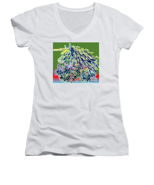 Unicorn Women's V-Neck T-Shirt (Junior Cut) by Belinda Threeths