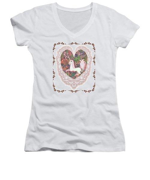 Unicorn In A Pink Heart Women's V-Neck T-Shirt