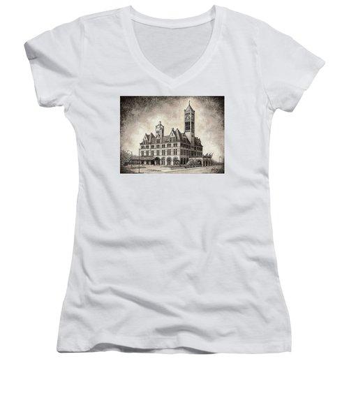 Union Station Mixed Media Women's V-Neck T-Shirt