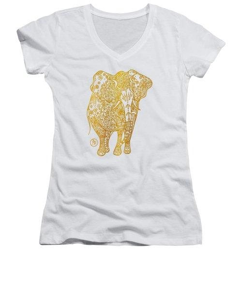 Unique Golden Elephant Art Drawing By Megan Duncanson Women's V-Neck T-Shirt (Junior Cut) by Megan Duncanson