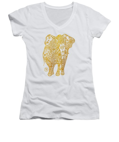 Unique Golden Elephant Art Drawing By Megan Duncanson Women's V-Neck T-Shirt