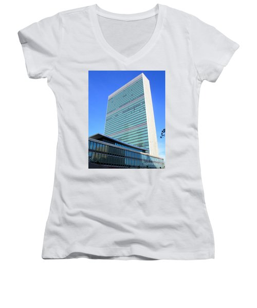 Women's V-Neck T-Shirt (Junior Cut) featuring the photograph United Nations 1 by Randall Weidner