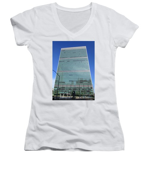 Women's V-Neck T-Shirt (Junior Cut) featuring the photograph United Nations 3 by Randall Weidner