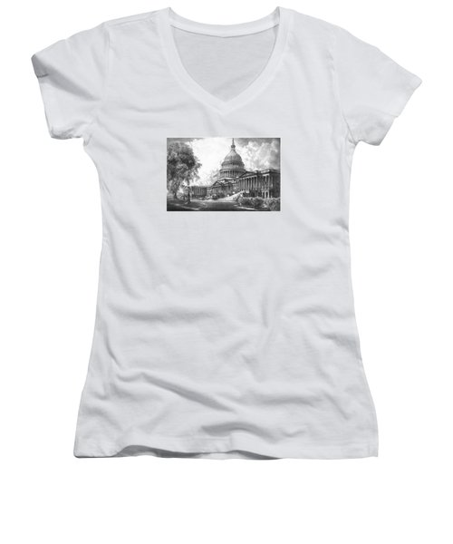 United States Capitol Building Women's V-Neck T-Shirt (Junior Cut) by War Is Hell Store
