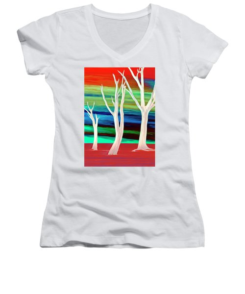 Women's V-Neck T-Shirt (Junior Cut) featuring the photograph United Trees by Munir Alawi