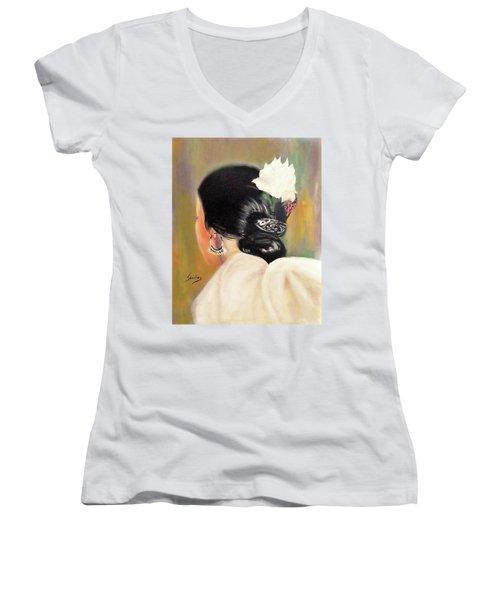 Untitled Dancer With White Flower Women's V-Neck T-Shirt (Junior Cut) by Manuel Sanchez