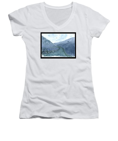Up The River Women's V-Neck T-Shirt
