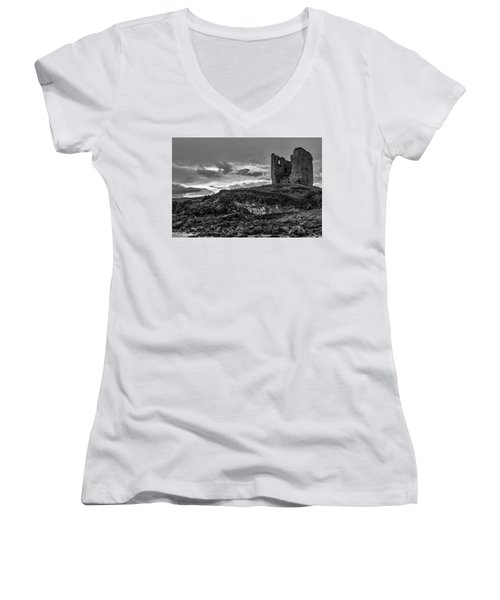 Upcomming Myth Bw #e8 Women's V-Neck T-Shirt (Junior Cut) by Leif Sohlman