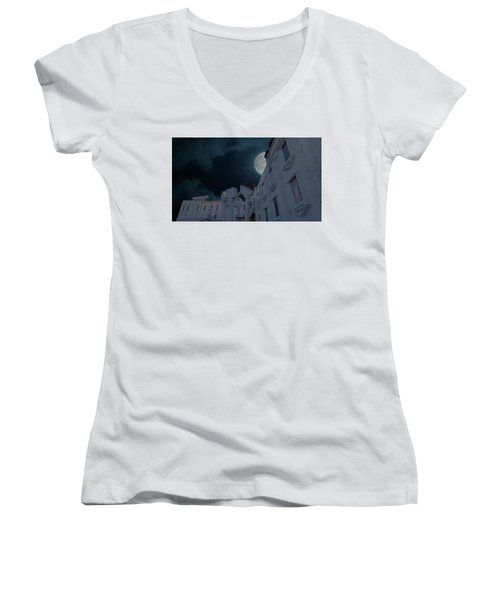 Upside Down White House At Night Women's V-Neck (Athletic Fit)