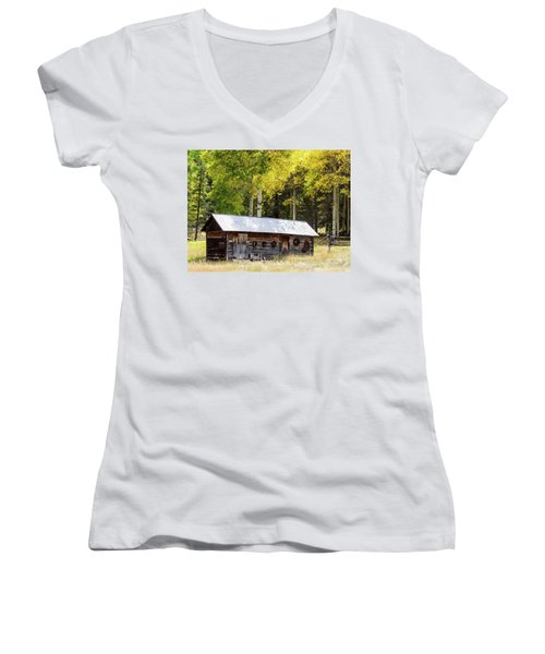 Uptop A Colorado Ghost Town Women's V-Neck T-Shirt (Junior Cut) by Nadja Rider