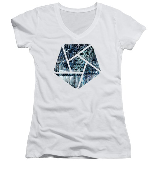 Urban-art Nyc Brooklyn Bridge I Women's V-Neck T-Shirt (Junior Cut) by Melanie Viola
