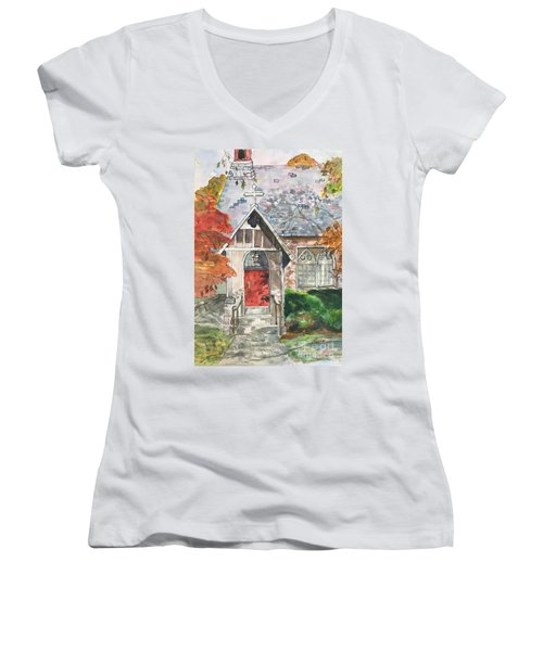 Urban  Church Sketching Women's V-Neck T-Shirt (Junior Cut) by Lucia Grilletto