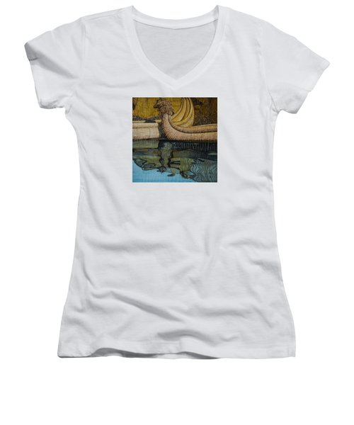 Uros Straw Boats And Island Women's V-Neck T-Shirt