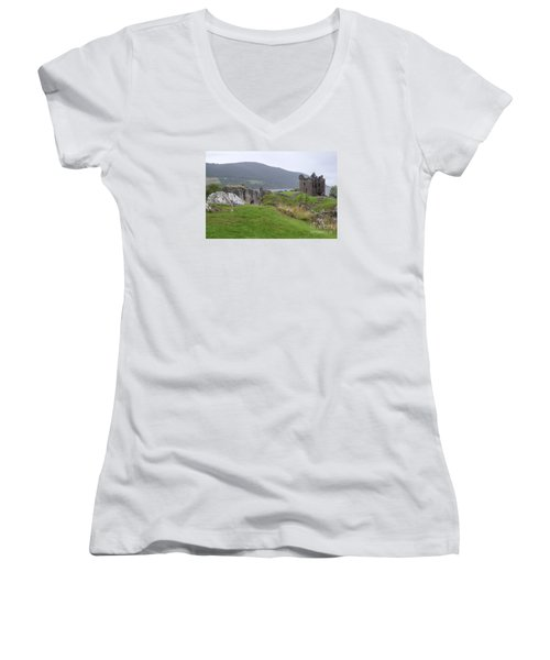 Urquhart Castle - Drumnadrochit Women's V-Neck T-Shirt (Junior Cut) by Amy Fearn