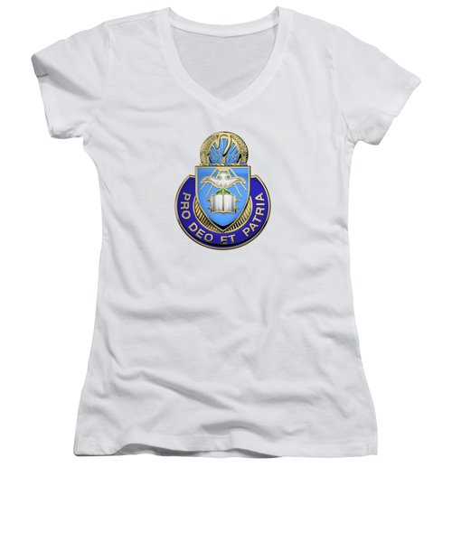 Women's V-Neck T-Shirt (Junior Cut) featuring the digital art U.s. Army Chaplain Corps - Regimental Insignia Over White Leather by Serge Averbukh
