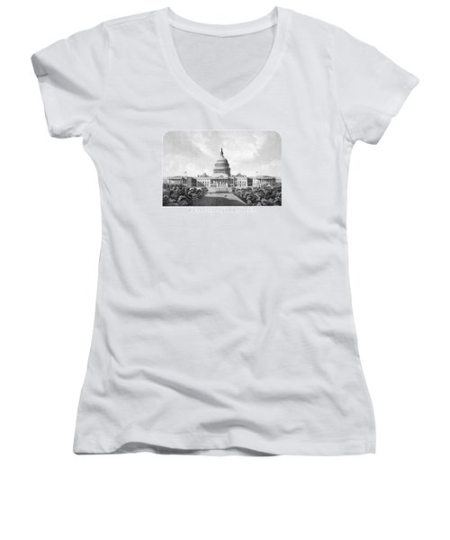 Us Capitol Building - Washington Dc Women's V-Neck T-Shirt (Junior Cut) by War Is Hell Store