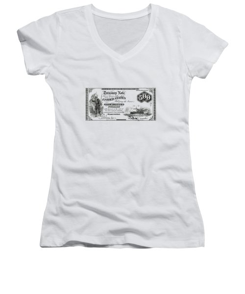 Women's V-Neck T-Shirt (Junior Cut) featuring the digital art U.s. Five Hundred Dollar Bill - 1864 $500 Usd Treasury Note  by Serge Averbukh