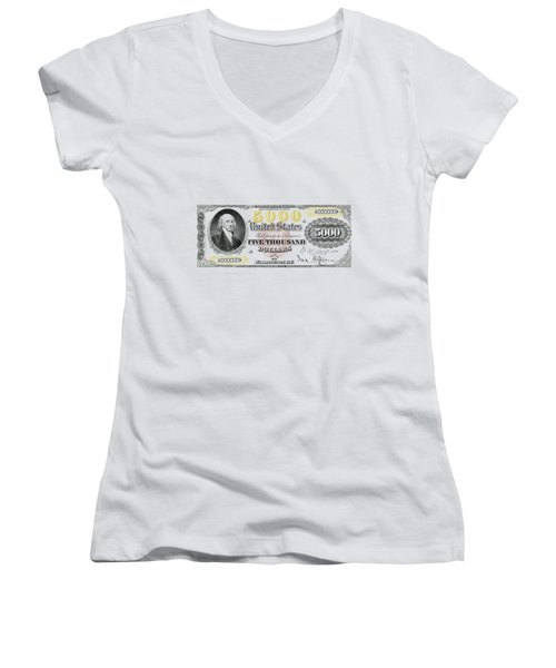 Women's V-Neck T-Shirt (Junior Cut) featuring the digital art U.s. Five Thousand Dollar Bill - 1878 $5000 Usd Treasury Note  by Serge Averbukh