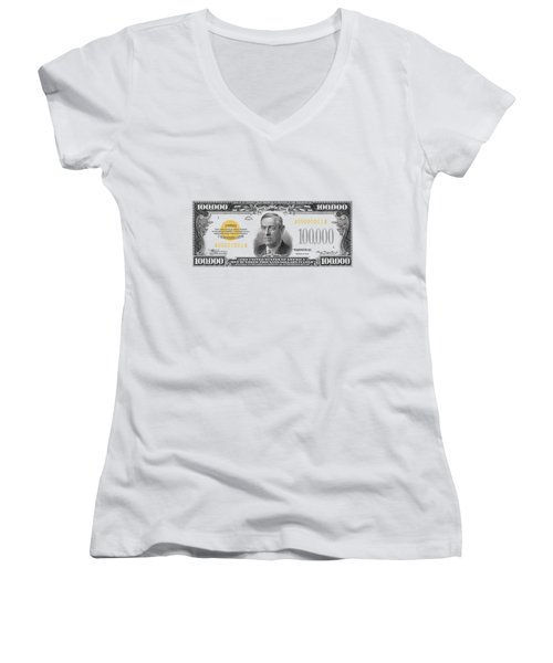 Women's V-Neck T-Shirt (Junior Cut) featuring the digital art U.s. One Hundred Thousand Dollar Bill - 1934 $100000 Usd Treasury Note  by Serge Averbukh