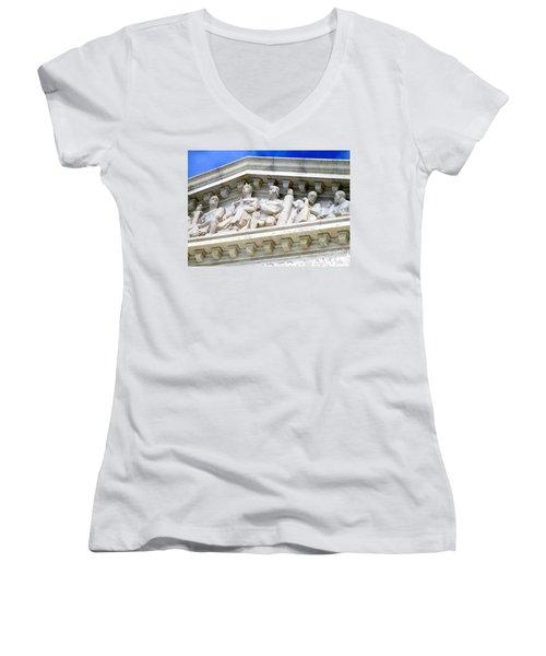 Us Supreme Court 4 Women's V-Neck T-Shirt (Junior Cut) by Randall Weidner