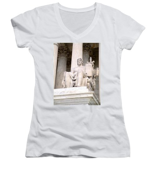 Us Supreme Court 8 Women's V-Neck T-Shirt (Junior Cut) by Randall Weidner