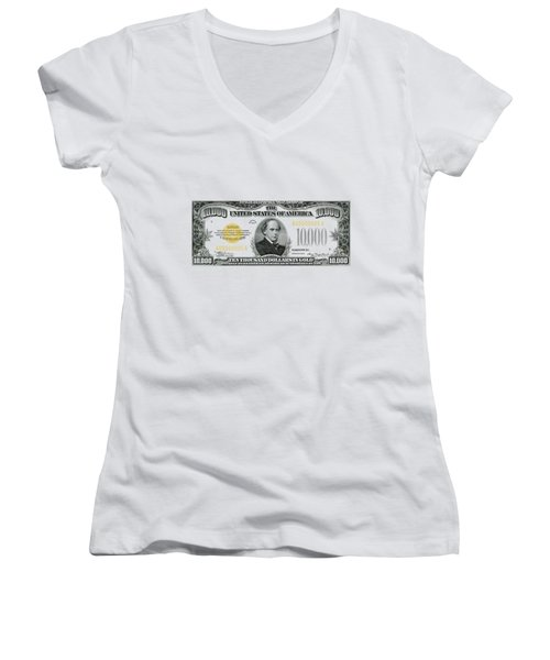 Women's V-Neck T-Shirt (Junior Cut) featuring the digital art U.s. Ten Thousand Dollar Bill - 1934 $10000 Usd Treasury Note by Serge Averbukh
