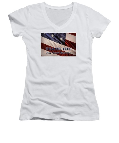 Women's V-Neck T-Shirt (Junior Cut) featuring the photograph Usa Military Veterans Patriotic Flag Thank You by Shelley Neff