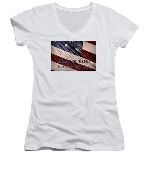 Usa Military Veterans Patriotic Flag Thank You Women's V-Neck