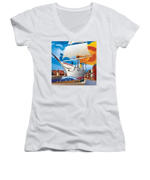 Uss Annapolis In Ego Alley Women's V-Neck T-Shirt
