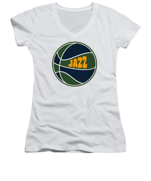Utah Jazz Retro Shirt Women's V-Neck T-Shirt (Junior Cut) by Joe Hamilton