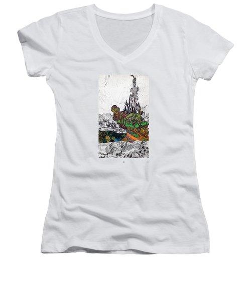 V Ogh 8 Women's V-Neck T-Shirt (Junior Cut) by Stan  Magnan